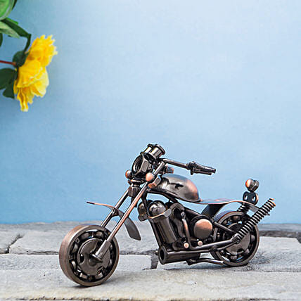 Copper Toned Miniature Metal Motor Bike Showpiece:Anniversary Gifts for Clients