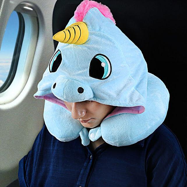 Unicorn Themed Hoodie Neck Blue Pillow