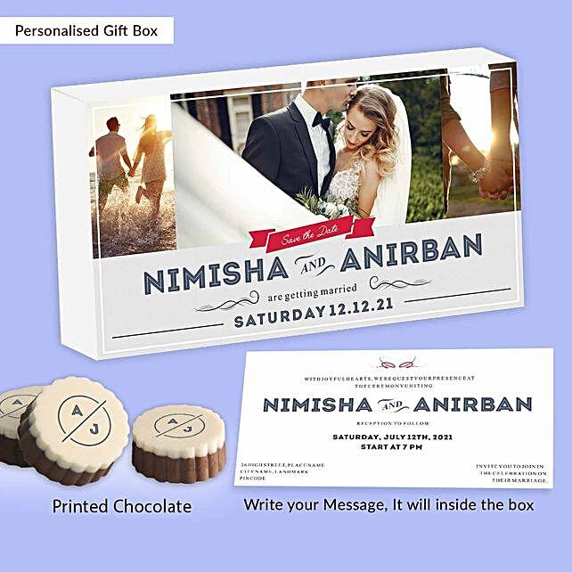 Personalised Marriage Invitation Sweet Chocolates:Personalised Chocolates for Him