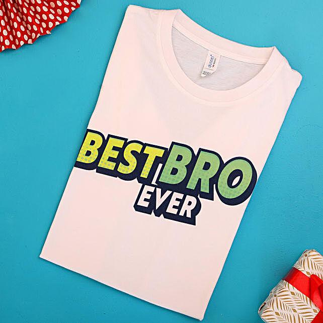 Best Bro Ever White Cotton T shirt:T Shirts