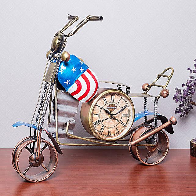 Multicoloured Iron Vintage Clock Bike Showpiece