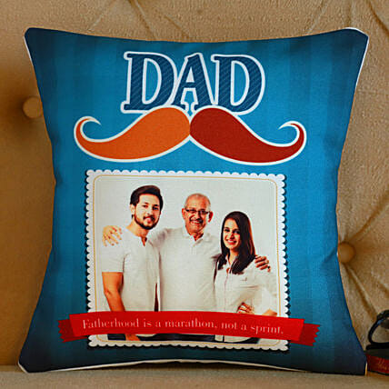Personalised Dad Mustache Cushion- Hand Delivery:Personalized Fathers Day Gifts
