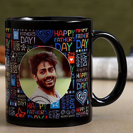 Personalised Father's Day Black Mug- Hand Delivery:Mugs for Fathers Day