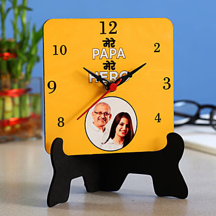 Personalised Mere Papa Hero Table Clock- Hand Delivery