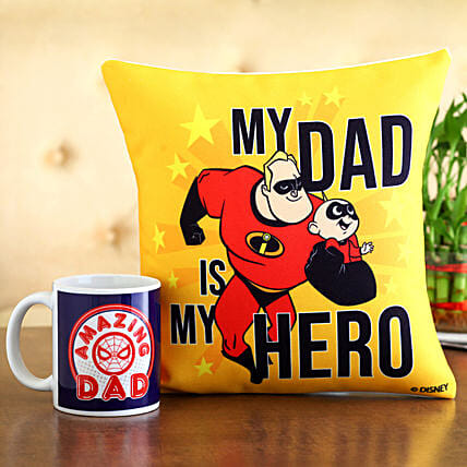My Dad My Hero Cushion Mug Hand Delivery:Gift Combos For Father's Day