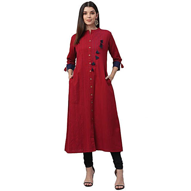 Nesara Cotton A Line Red Dress