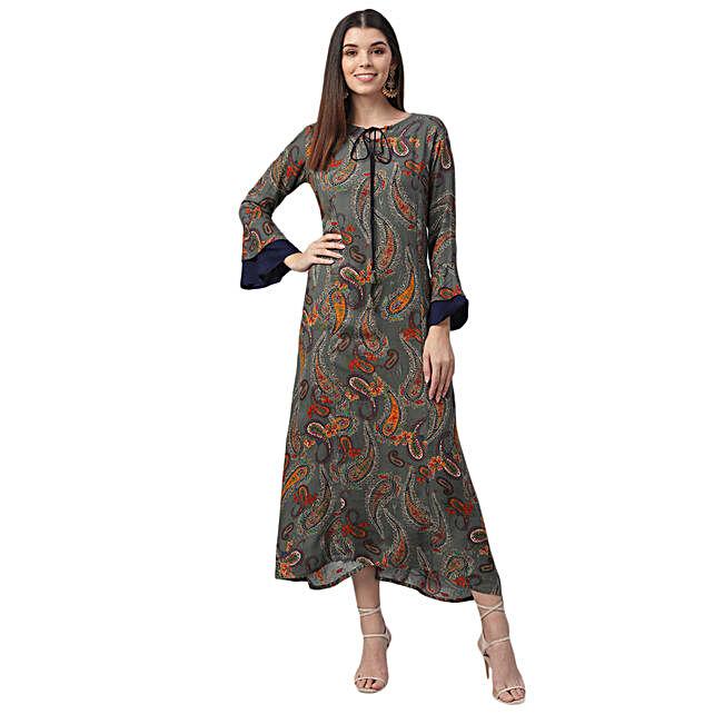 Nesara Printed Rayon Dark Grey Dress