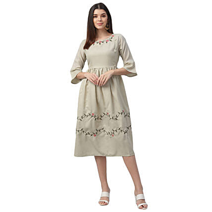 Nesara South Cotton Grey Embroidered Dress