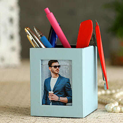 PU Leather Personalised Photo Frame Pen Stand:Personalised Stationery
