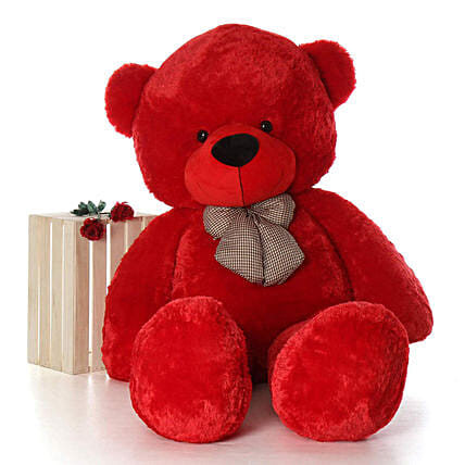 Adorable Red Teddy Bear With Neck Bow