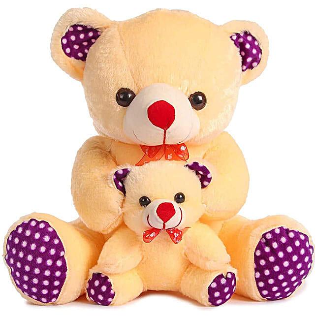 Cute Cream Mother Baby Teddy Bear
