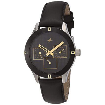 Fastrack Monochrome Analog Black Dial Womens Watch:Watches