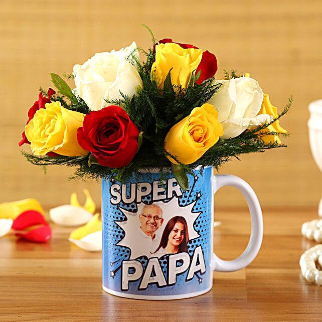Mixed Roses In Super Papa Personalised Mug