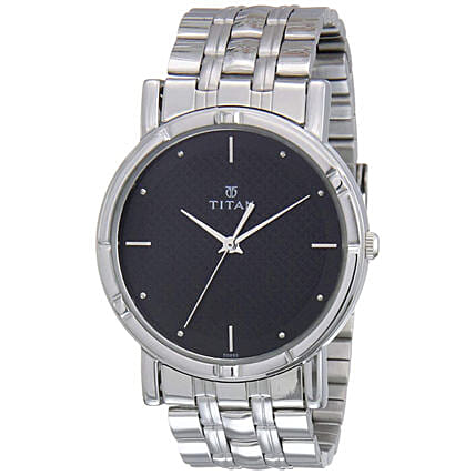 Titan Analog Black Dial And Steel Strap Mens Watch