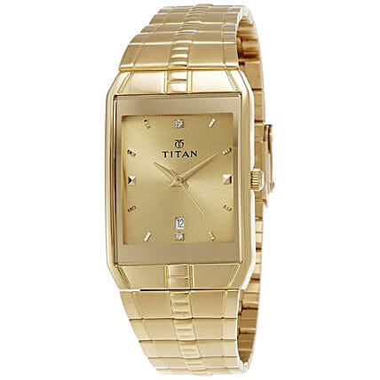 Titan Analog Golden Dial And Strap Mens Watch