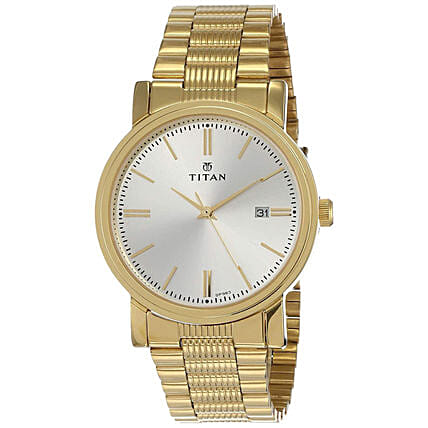 Titan Analog White Dial And Golden Strap Mens Watch