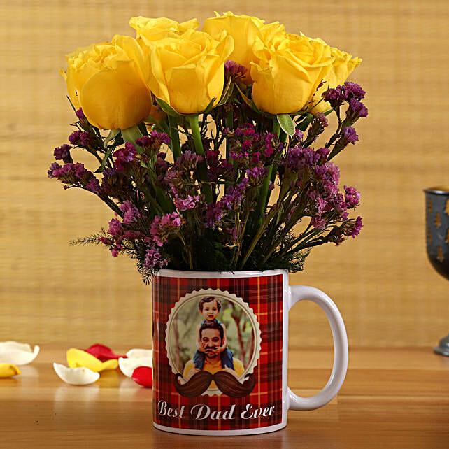 Yellow Roses In Best Dad Ever Personalised Mug