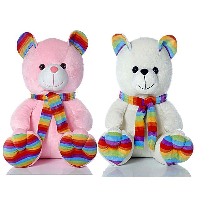 Muffler Teddy Bear Combo White Pink