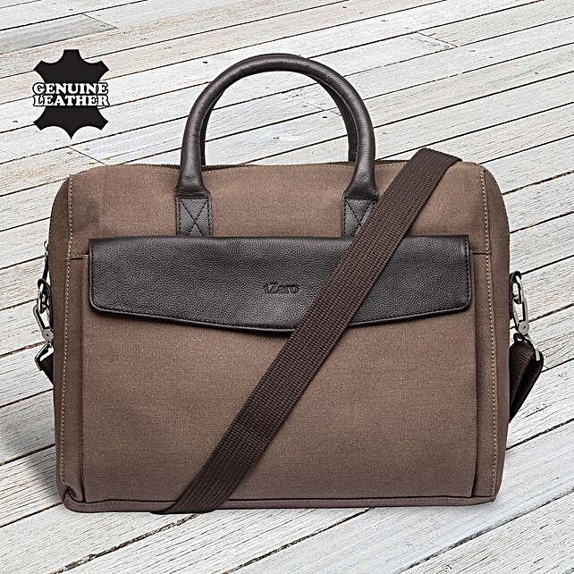 Fathers Day Tzaro Canvas Leather Portfolio Bag
