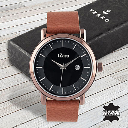 Fathers Day Tzaro Date Display Brown Watch:Accessories for Him