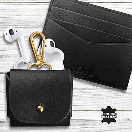 Earpod Pouch Leather Card Holder Fathers Day Combo:Mens Accessories