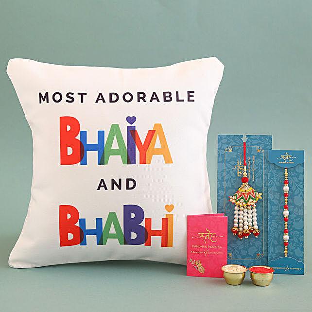 Rakhi and Cushion Combo for Bhaiya Bhabhi:Rakhi With Cushions