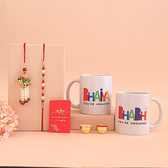 Mug and Lumba Rakhi Combo for Bhaiya Bhabhi:Send Rakhi Best Seller Gifts