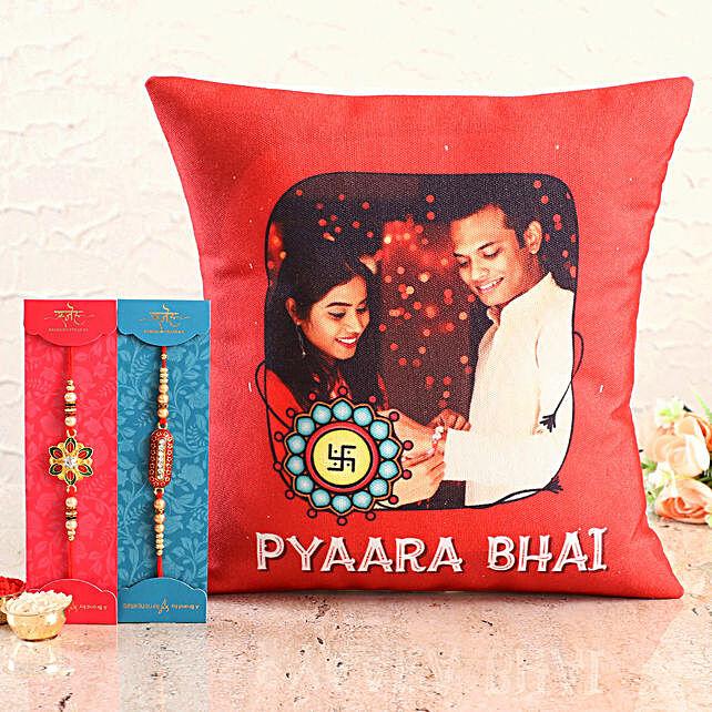 Designer Rakhis with Siblings Photo Cushion