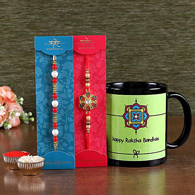 Online Printed Mug with Designer Rakhi Set