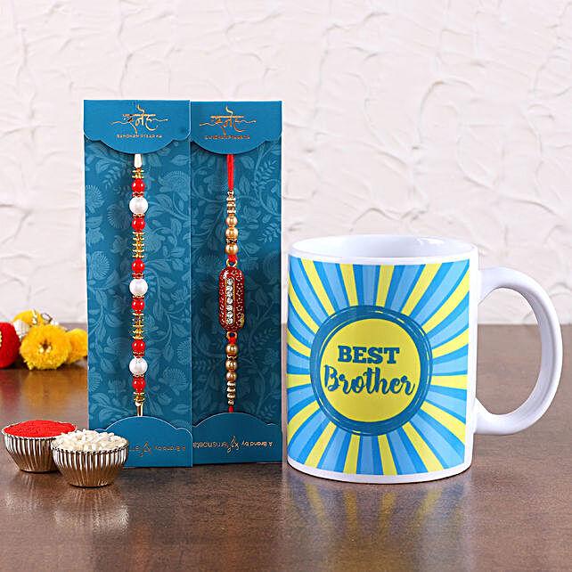 Set of 2 rakhi with printed mug online