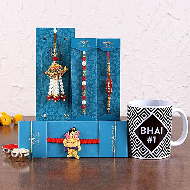Online Printed White Mug and Set Of 4 Rakhi online