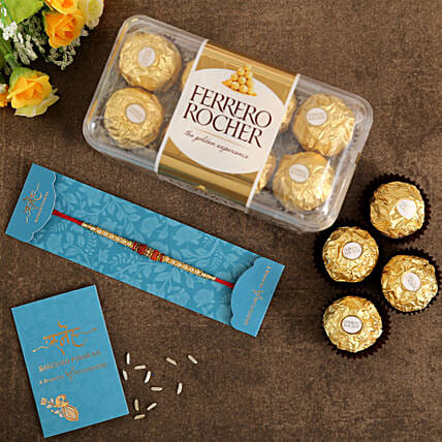Rudraksha Rakhi and Ferrero Rocher