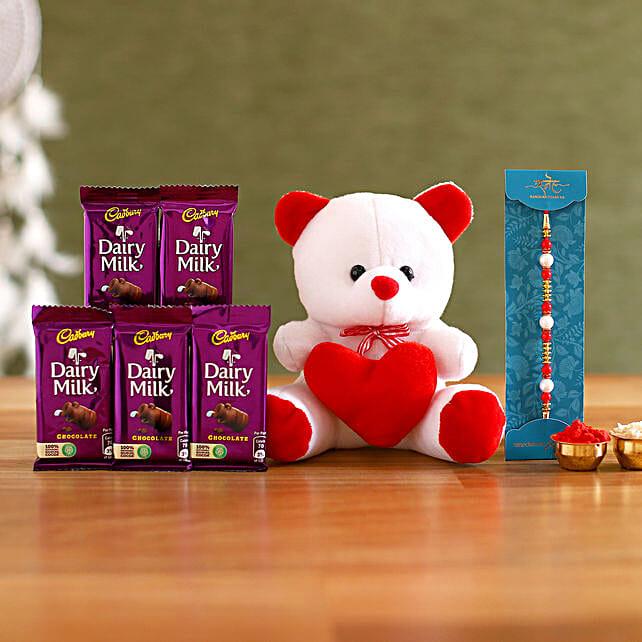 Pretty Pearl Rakhi and Teddy Hamper:Soft toys Gifts for Raksha Bandhan
