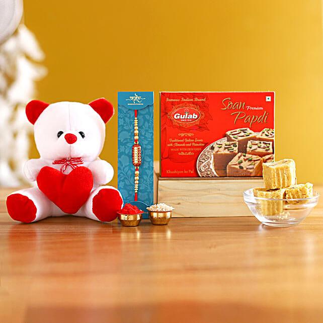 Capsule Rakhi With Teddy and Sweets:Raksha Bandhan Soft toys