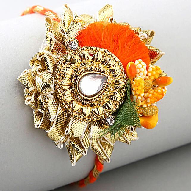 Zardosi Flower Design Rakhi:Send Kundan Rakhi