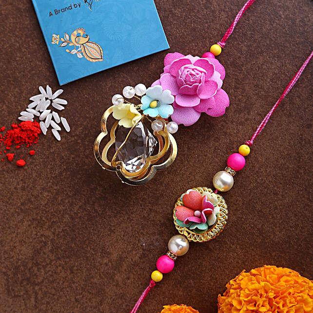Bhaiya Bhabhi Rose Rakhi Set