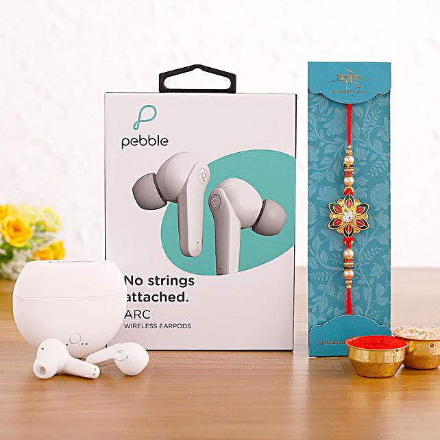 Meenakari Rakhi & Pebble Bluetooth Earbuds Hamper:Rakhi With Gadgets