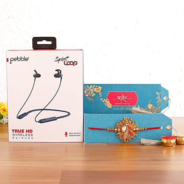 Zardosi Rakhi & Pebble Spirit Loop Neckband Hamper