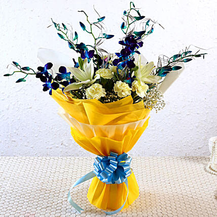 Beautiful Blue Orchids & Mixed Flowers Bunch