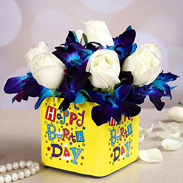 Happy Birthday Orchids & Roses Arrangement