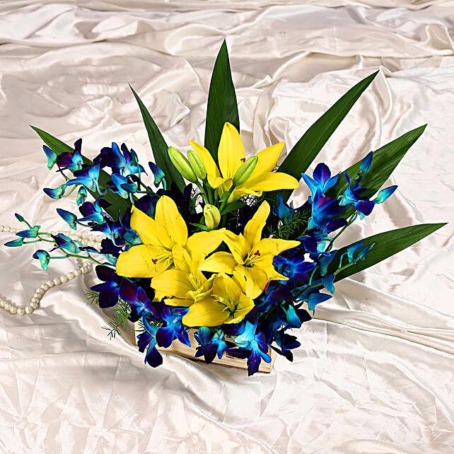 Orchids & Lilies Wooden Basket Arrangement