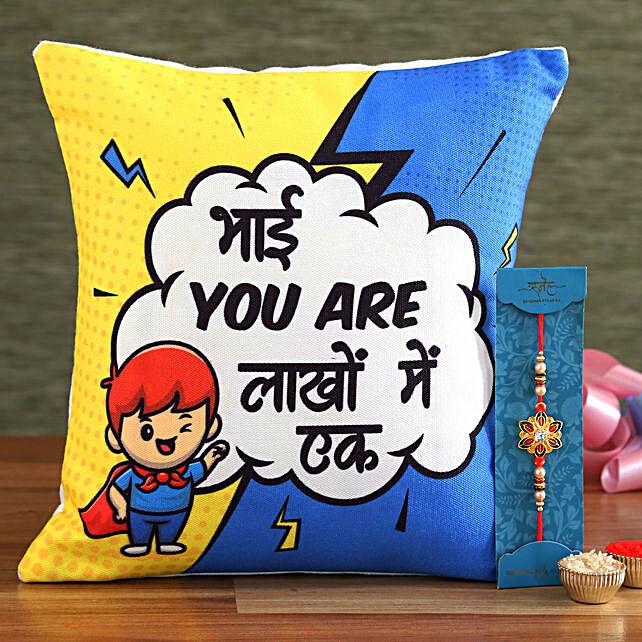 Meenakari Rakhi and Bhai Special Cushion