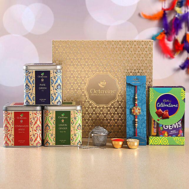 Beautiful Meenakari Rakhi and Green Tea Hamper:Tea Gift Hampers