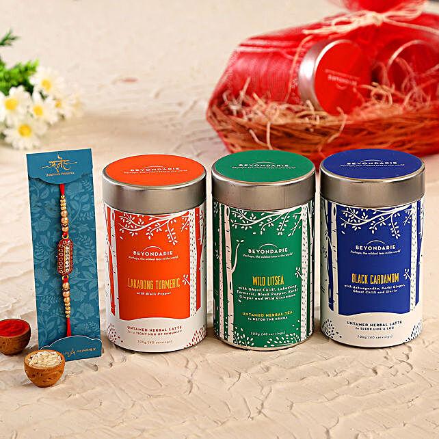 Designer Capsule Rakhi and Healthy Herbal Tea Combo