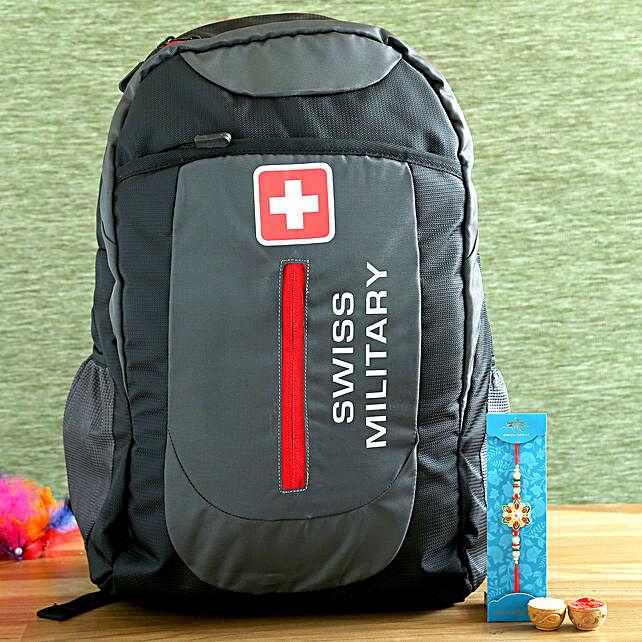 Meenakari Pretty Rakhi and Swiss Military Backpack Hamper