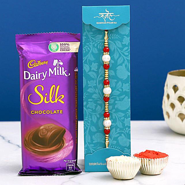 Elegant Rakhi & Dairy Milk Silk Combo- Hand Delivery
