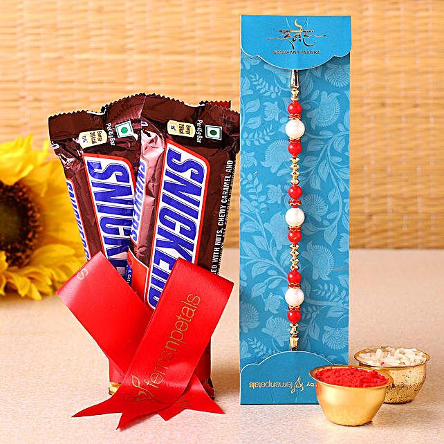Ethnic Rakhi & Snickers Chocolate- Hand Delivery