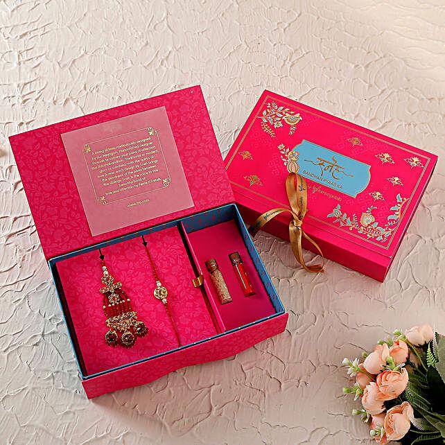 Pretty Red Lumba Rakhi Set