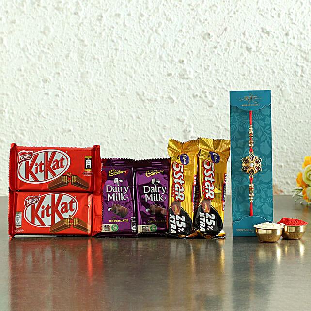 Meenakari Rakhi & Chocolates Hamper- Hand Delivery