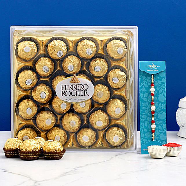 Rakhi & Ferrero Rocher Combo- Hand Delivery:Raksha Bandhan Chocolates